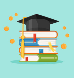 Degree square cap on piles of textbooks vector
