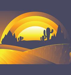 desert twilight landscape vector image