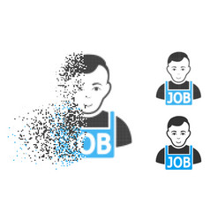 dispersed pixel halftone jobless icon with face vector image