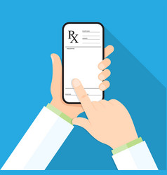 doctor s hand holding a smartphone with rx vector image