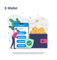 e wallet concept with people character in flat vector image