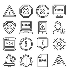 error and warning icons set on white background vector image
