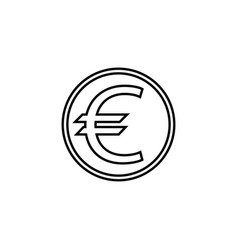 euro coin line icon finance and business vector image