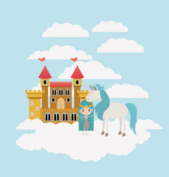 fairy with unicorn in the clouds and castle vector image