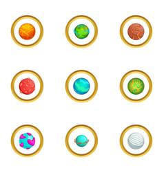 Fantastic planet icons set cartoon style vector