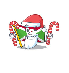 Flag burundi cartoon character in santa with candy vector
