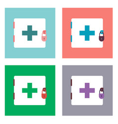 Flat icon design collection first aid kit on the vector