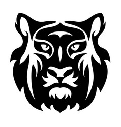 flat icon of stylized face of a tiger vector image