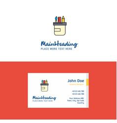 flat pencil box logo and visiting card template vector image