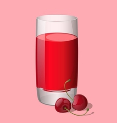 Full glass of cherry juice vector image