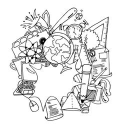Funny doodle art school education vector