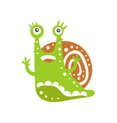 funny snail character raising its hands cute vector image