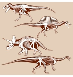 Gigantic dinosaurus silhouettes with skeletons vector
