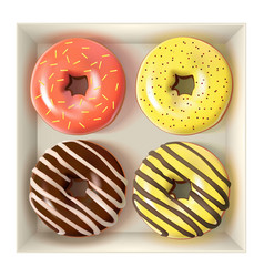 glazed colored donuts set in box 3d vector image