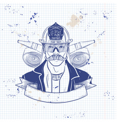 hand drawn sketch fireman icon vector image