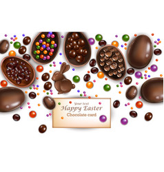 happy easter card with chocolate bunny and eggs vector image
