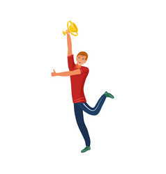 Happy sportsman holding victory cup in raised hand vector