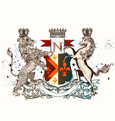 heraldic design with coat arms horse and lion vector image