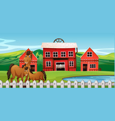 Horse at farmland scene vector