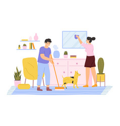 House cleaning young couple cleaning and washing vector