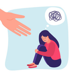 Human hand helps sad lonely woman in depression vector