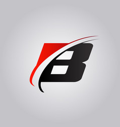 Initial b letter logo with swoosh colored red and vector