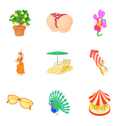 Interesting party icons set cartoon style vector