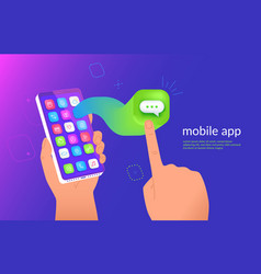 isometric smartphone with messenger application vector image