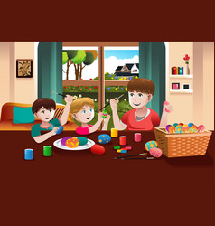 Kids painting easter eggs vector