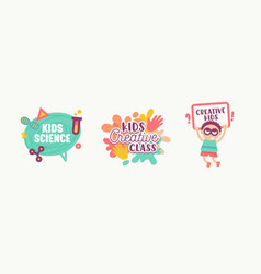 kids science creative class banners stickers vector image