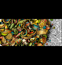 Latin america hand drawn doodle banner cartoon vector