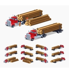 Log truck with the pile of logs vector image