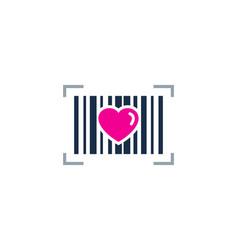 Love barcode logo icon design vector
