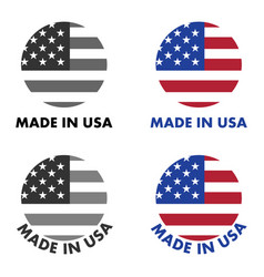 made in usa label red stripes and white stars on vector image