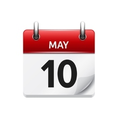 May 10 flat daily calendar icon Date and vector