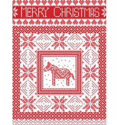 Merry christmas card with dala horse vector image