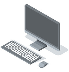 Modern desktop computer with blank gray vector