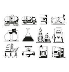 Monochrome black icon set for petroleum industry vector