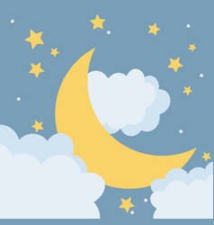 Moon at night cartoon vector