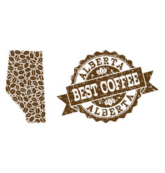 Mosaic map of alberta province with coffee beans vector