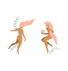 nude woman with floral decoration minimal art vector image