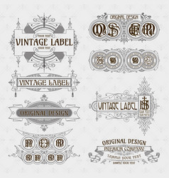 Old vintage floral elements vector