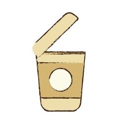 Open plastic cup coffee portable sketch vector