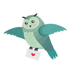 Owl bird flying with letter of love with heart vector