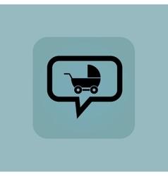 Pale blue pram message icon vector