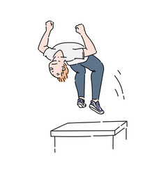 parkour athlete or sportsman in motion cartoon vector image