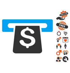 Payment terminal icon with dating bonus vector