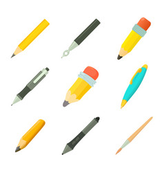 pens icon set cartoon style vector image