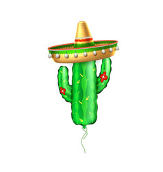 Realistic inflatable cactus air balloon vector