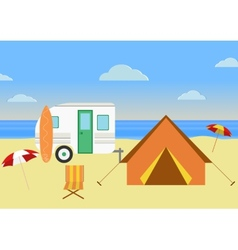 Retro caravan on the beach summer vacationretro vector